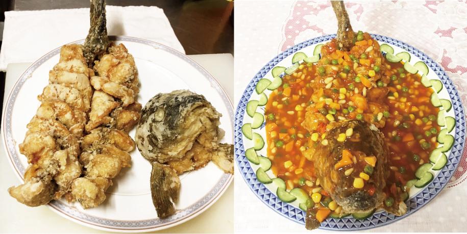 お客様のリクエスト「佐久鯉を中華あんかけ姿煮」